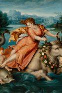 Scène mythologique Jupiter, métamorphose : taureau, Europe, enlèvement, putti, à califourchon, dauphins) Fond de paysage