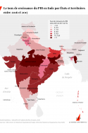 Carte qui répresente la croissance du PIB en Inde par térritoire (en %)
