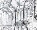 Croquis de Viollet-le-Duc pour une salle de concert, daté de 1864, exprimant les principes gothiques dans les matériaux modernes : brique, pierre et fonte. Entretiens sur l'architecture.