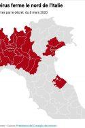 la Lombardie et 14 provinces du nord de l'Italie fermées par le décret coronavirus