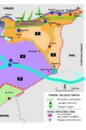 Carte zones de controle sur le térritoire en Syrie conflit israélo-palestinien printemps arabe géopolitique Turquie Erdogan Daesh kurdes PKK