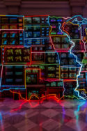 Image Neon map USA émergence de taskforces inter-États pour lutter contre le virus fédéralisme aux États-Unis renaissance du fédéralisme anti-confinement Trump démocrates républicains politique géopolitique américaine confinement pandémie covid-19 gestion de crise sanitaire société populisme