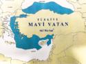 carte revendications turques en Méditerranée propagande turque amiral Cem Gurdeniz Mavi Vatan doctrine géopolitique de la Patrie bleue Grèce Turquie Chypre marine guerre doctrines stratégie navale